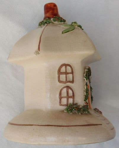 Vintage antique ceramic cottage ornament Staffordshire style pottery round house